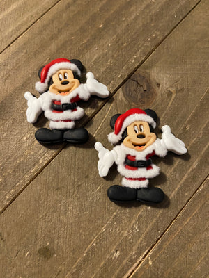 Santa Mickey or Minnie Mouse Post Earrings