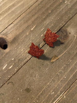 Glitter Autumn Leaves Post Earrings (3 leaves to choose)