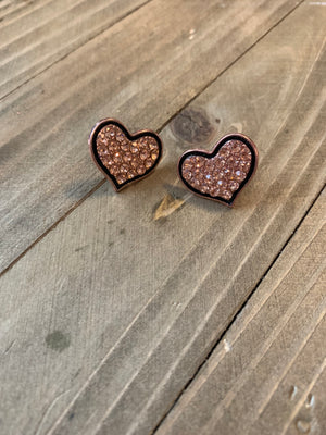 Sparkly Gold Heart with black trim Post earrings
