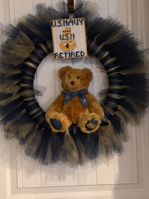 Navy Tulle Wreath with or Without Bear in the Center