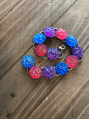 Bright Cluster Purple, Pink, Blue Gemstone Bracelet