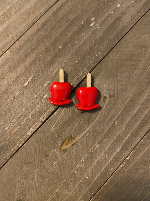 Candy Apple post earrings-Perfect for Fall Ear Bling