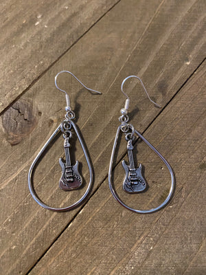 For the Love of Music Collection-Teardrop hoop wire earrings with a musical instrument dangling in the center