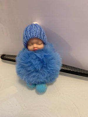 Blue Sleeping Baby Doll Key Chains