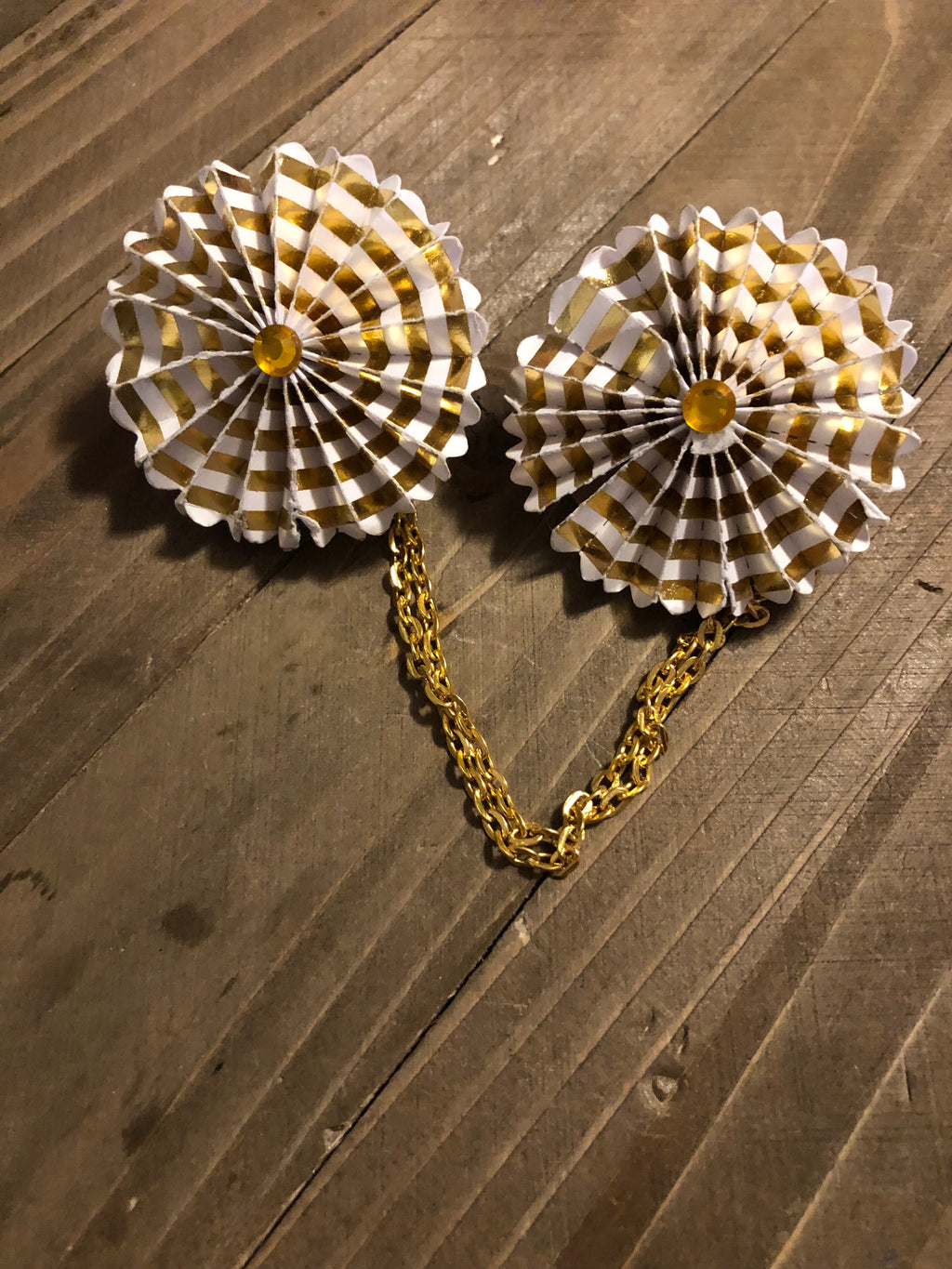 Gold and white rosette Sweater Pin
