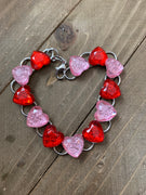 Pink and Red Hearts Gemstone Bracelet, Silver 12 links
