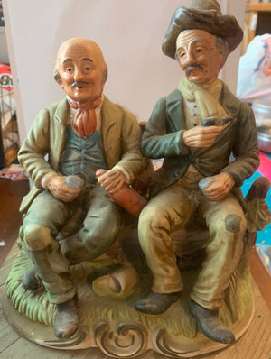 Vintage Figurine-2 older men sitting on a bench drinking