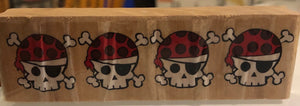 Pirate Theme Rubber Stamps Skull & Crossbones border; Pirate ship; treasure map -- GARAGE SALE--