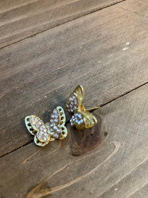 Butterfly in 3D, gold rhinestone wings post earrings