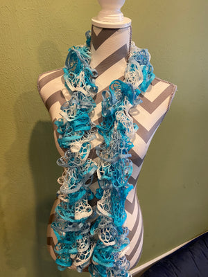 Ruffled Scarf handmade with Starbella Stripes yarn-Sea Breeze