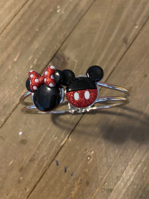 Minnie and Mickey Mouse Ears on a Silver Hinged Bracelet
