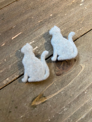 I Love Cats Post Earrings  Gray Black velvety