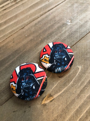 Darth Vadar Fabric Covered Round Button Earrings