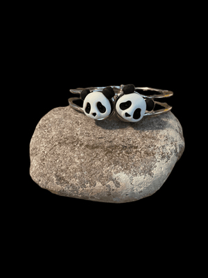 Panda Bears on a Silver Hinged Bracelet