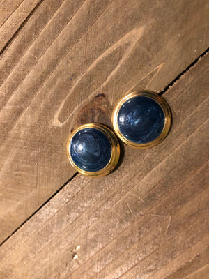 Round dark blue with gold trip post earrings from Mom's collection