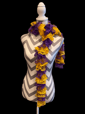 Ruffled Scarf handmade with Gold and Purple Sashay Team yarn