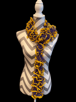 Ruffled Scarf handmade with Starbella Stripes yarn-Medal
