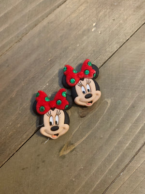 Christmas Minnie Mouse  Post Earrings