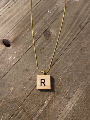Wood Alphabet Tiles on Gold Chain Necklace (all Letters)