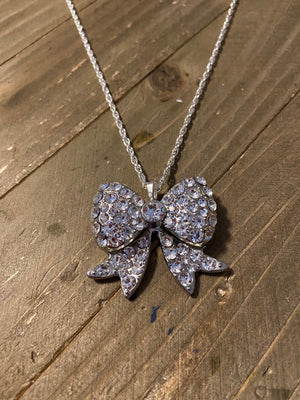Dainty Silver chain necklace with Rhinestone Bow Pendant