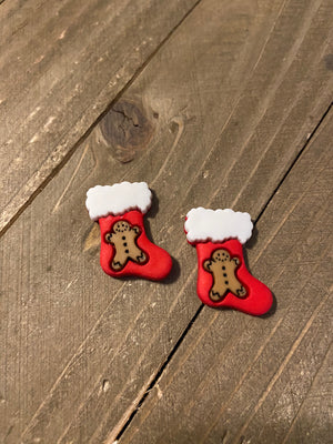 Christmas Stockings with Gingerbread man, Snowflake, or Christmas Tree Post Earrings