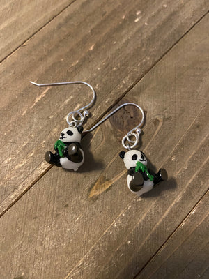 Panda Bear glass charm earrings