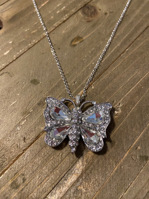 Dainty Silver chain necklace with Rhinestone Butterfly Pendant