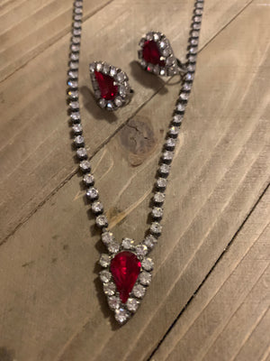 Vintage Ruby and Diamond necklace and Clip on earring  | From Mom's Collection