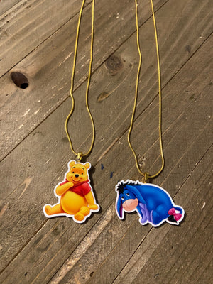 Winnie the Pooh or Eeyore Necklace  (gold or black chain)