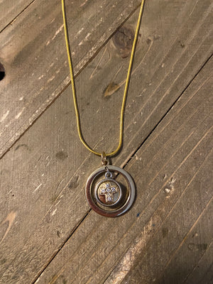 Silver and Gold Concentric Rings Pendant with a Cross Charm Necklace