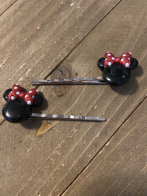 Minnie Mouse Ears Hair clips (a pair)
