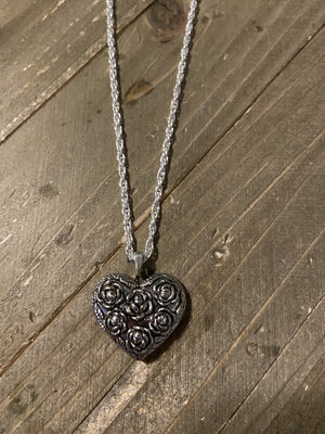 Silver Heart Pendant on a dainty chain  Necklace