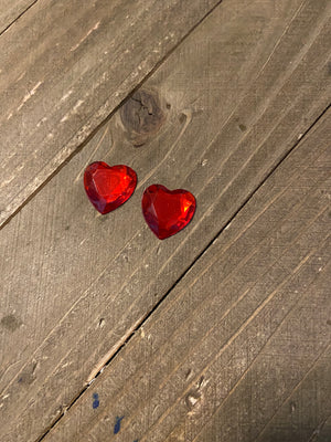 Red Gemstone Heart Post Earrings