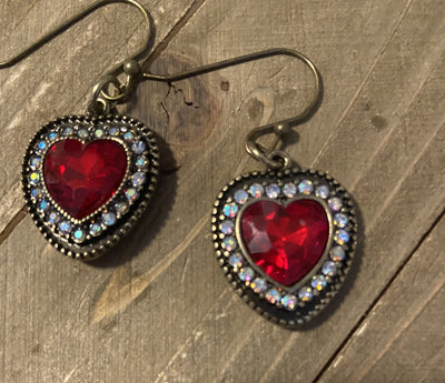Red Heart Rhinestone dangling earrings