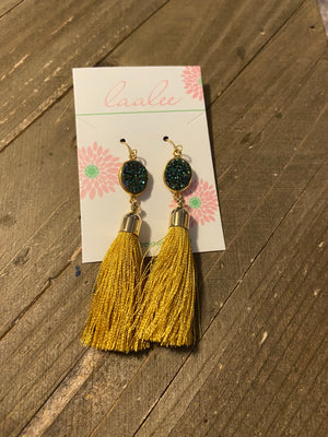Mardi Gras Earrings; gold tassel and green druzy; wire earrings