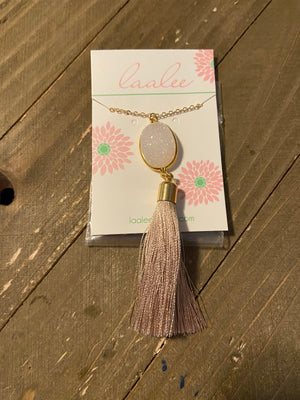Gorgeous  white sparkly Druzy with a tan tassel Gold chain Necklace