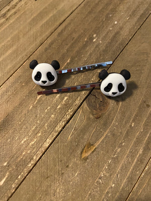 Panda Bear Hair clips (a pair)