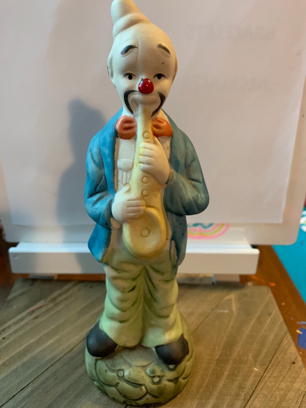 Clown--Ceramic, hand painted playing the Saxaphone