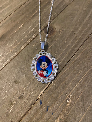 Disney Characters Pendants on a Silver chain Necklace