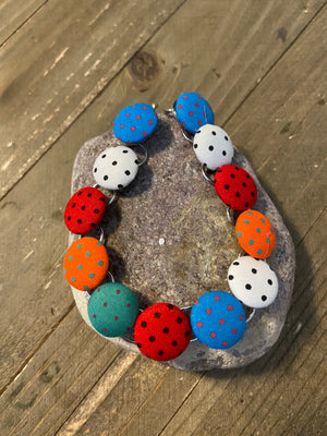 Polka Dot Fabric Bracelet, Silver 12 links