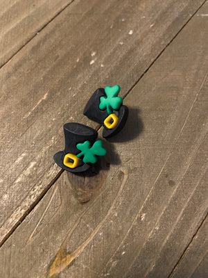 Shamrock Black Hat Post Earrings