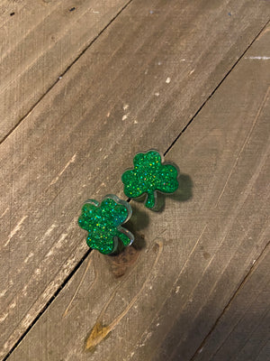 Glitter Shamrock Post Earrings