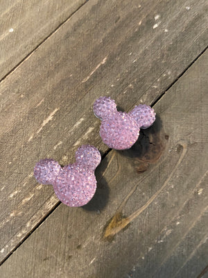 Pink or Blue Rhinestone Mickey Mouse Ears Post Earrings