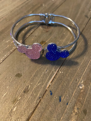 Mickey Ears Pink and Blue Rhinestone on a Silver Hinged Bracelet