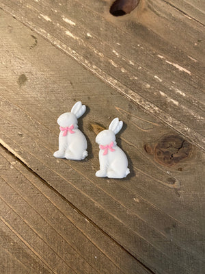 White or Brown Easter Bunny Post Earrings