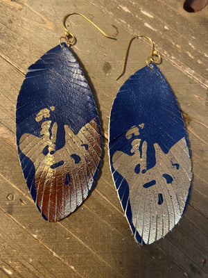 Blue Leather Drop Wire earrings