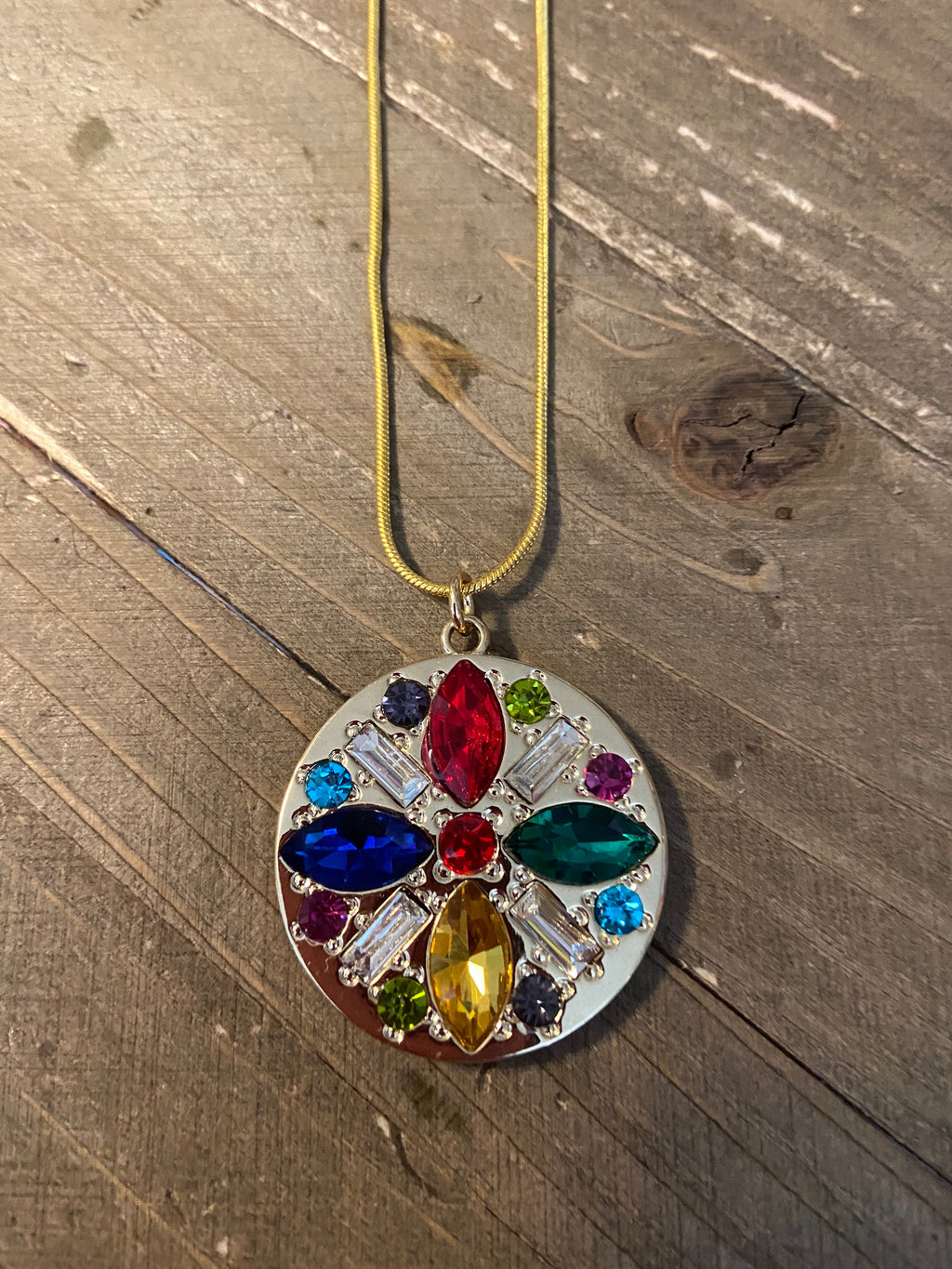 Multi-Color Rhinestone Round Pendant on a Gold chain Necklace