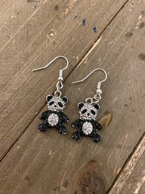 Panda w/bling charm wire earrings
