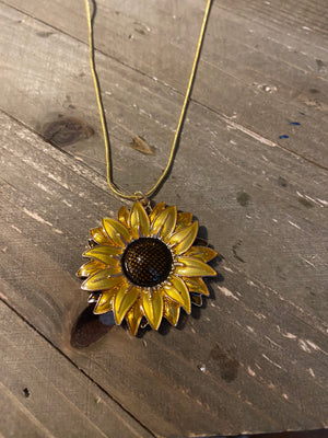 Sunflower Round Pendant on a Gold chain Necklace
