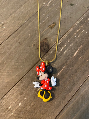 Minnie Mouse Necklace on a dainty Gold chain